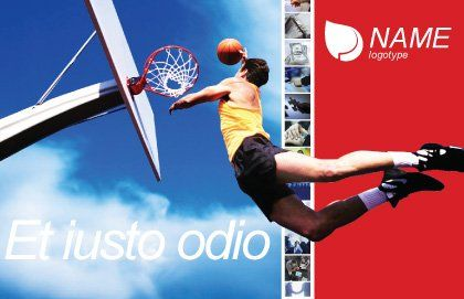 Flying Basketballer Postcard Template Outer Page