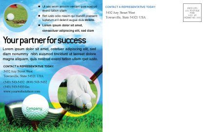 Golf Postcard Template, Inner Page, 01768, Sports — PoweredTemplate.com