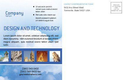Blue Cross Postcard Template, Inner Page, 01804, Religious/Spiritual — PoweredTemplate.com