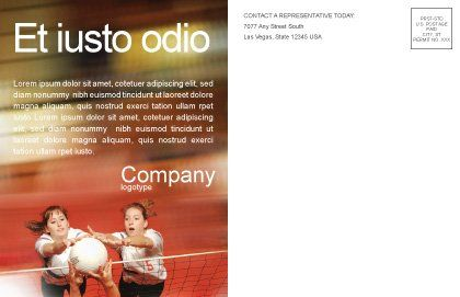 Volleyball Postcard Template, Inner Page, 01862, Sports — PoweredTemplate.com