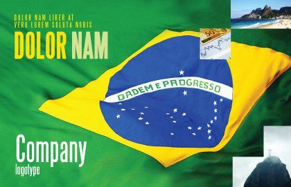 Brazilian Flag Postcard Template, Outer Page, 01915, Abstract/Textures — PoweredTemplate.com