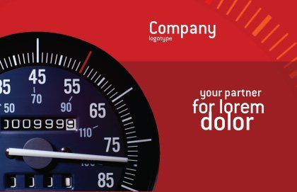 Speedometer Postcard Template, Outer Page, 01985, Cars/Transportation — PoweredTemplate.com