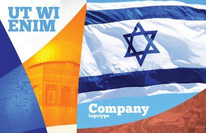 Flag of Israel Postcard Template, Outer Page, 02002, Flags/International — PoweredTemplate.com