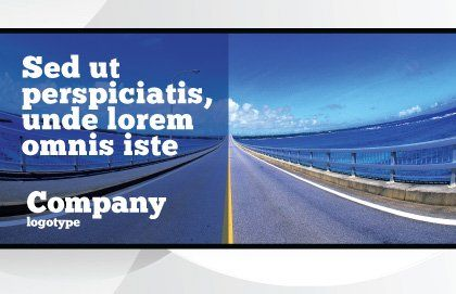 Highway In A Blue Distance Postcard Template, Outer Page, 02214, Construction — PoweredTemplate.com