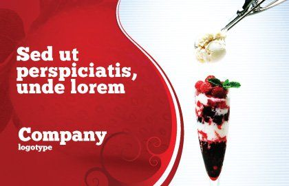 Raspberry Ice Cream Postcard Template, Outer Page, 02247, Food & Beverage — PoweredTemplate.com