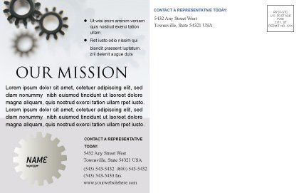 Gears Postcard Template, Inner Page, 02605, Utilities/Industrial — PoweredTemplate.com