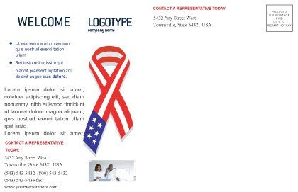Patriot Ribbon Postcard Template, Inner Page, 02739, Holiday/Special Occasion — PoweredTemplate.com