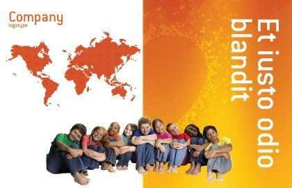 Kids On the Orange World Background Postcard Template Outer Page