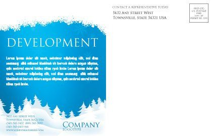 Forest Snow Postcard Template, Inner Page, 02888, Holiday/Special Occasion — PoweredTemplate.com