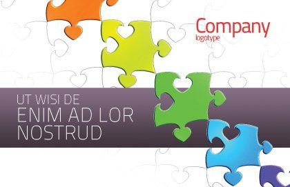 Fancy Jigsaw Postcard Template, Outer Page, 02895, Business Concepts — PoweredTemplate.com