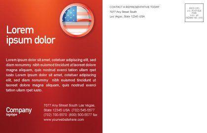 US Flag Postcard Template, Inner Page, 02905, Flags/International — PoweredTemplate.com