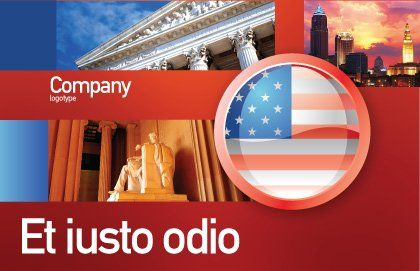US Flag Postcard Template, Outer Page, 02905, Flags/International — PoweredTemplate.com