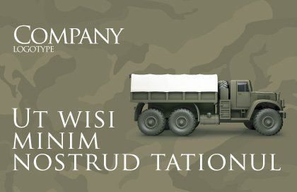Military Truck Postcard Template, Outer Page, 02962, Military — PoweredTemplate.com