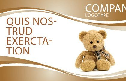 Teddy Bear On A White Background Postcard Template, Outer Page, 02999, Holiday/Special Occasion — PoweredTemplate.com