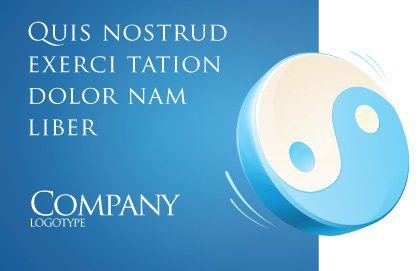 Blue Yin Yang Postcard Template Outer Page