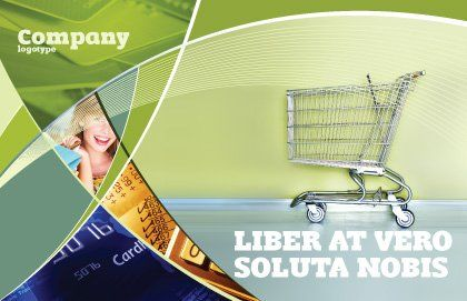 Shopping Cart On Olive Background Postcard Template, Outer Page, 03208, Financial/Accounting — PoweredTemplate.com