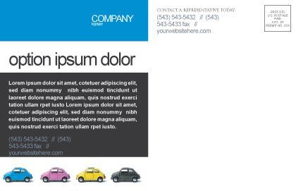 Minicars Postcard Template, Inner Page, 03491, Cars/Transportation — PoweredTemplate.com