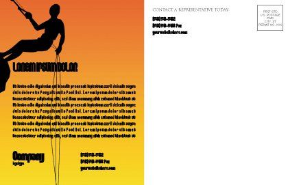 Silhouette Of Rock Climber Postcard Template, Inner Page, 03535, Consulting — PoweredTemplate.com
