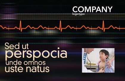 Electrocardiography Postcard Template, Outer Page, 03538, Medical — PoweredTemplate.com