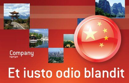 Flag of China Postcard Template, Outer Page, 03690, Flags/International — PoweredTemplate.com
