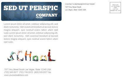 School Word Postcard Template, Inner Page, 03693, Education & Training — PoweredTemplate.com