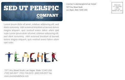 Teacher of Class Postcard Template, Inner Page, 03723, Education & Training — PoweredTemplate.com