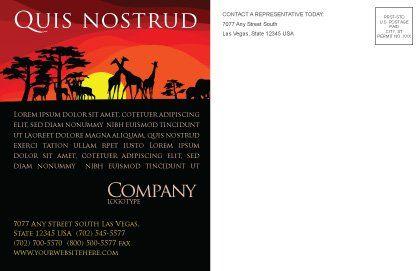 Savanna Sundown Postcard Template, Inner Page, 04012, Nature & Environment — PoweredTemplate.com