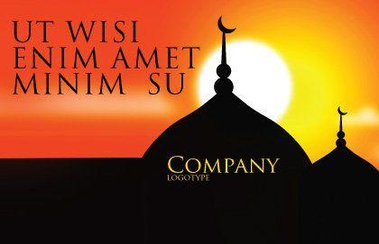 Mosques Postcard Template, Outer Page, 04019, Religious/Spiritual — PoweredTemplate.com