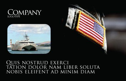 American Armed Forces Postcard Template, Outer Page, 04026, Military — PoweredTemplate.com