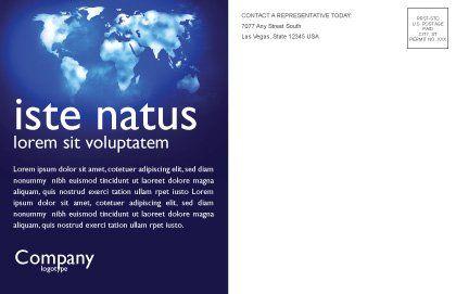 Wide World Blue Map Postcard Template, Inner Page, 04050, Global — PoweredTemplate.com