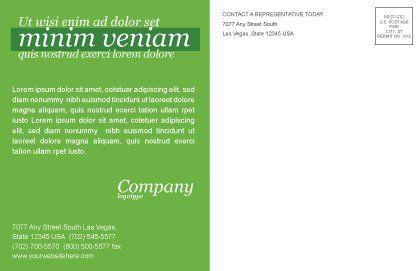 Green Car Postcard Template, Inner Page, 04204, Nature & Environment — PoweredTemplate.com