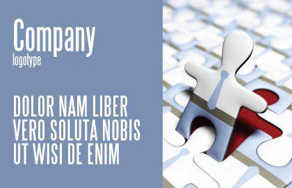 Jigsaw Man Postcard Template, Outer Page, 04332, Business — PoweredTemplate.com