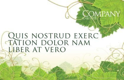 Grape Leaves Ornament Postcard Template, Outer Page, 04421, Nature & Environment — PoweredTemplate.com
