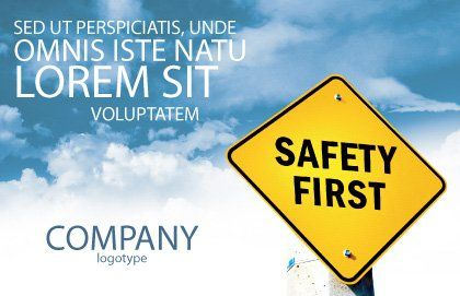 Safety First Postcard Template, Outer Page, 04449, Careers/Industry — PoweredTemplate.com