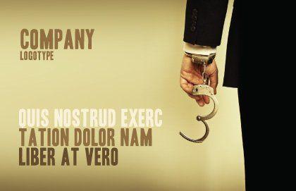 Handcuffs Postcard Template, Outer Page, 04484, Legal — PoweredTemplate.com