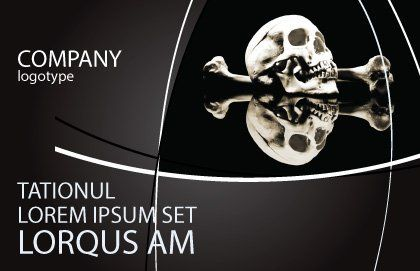 Skull And Bone Postcard Template, Outer Page, 04834, Education & Training — PoweredTemplate.com