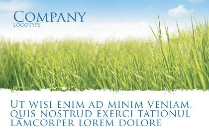 Green Grass Under Blue Sky Postcard Template Outer Page