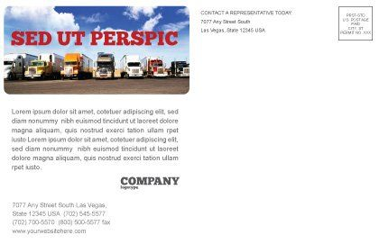Trucks Postcard Template, Inner Page, 05080, Cars/Transportation — PoweredTemplate.com