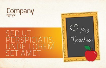 I Love My Teacher Postcard Template, Outer Page, 05109, Education & Training — PoweredTemplate.com