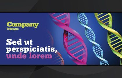 DNA Spirals Postcard Template, Outer Page, 05117, Medical — PoweredTemplate.com