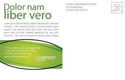 Green Fibers Postcard Template, Inner Page, 05553, Abstract/Textures — PoweredTemplate.com