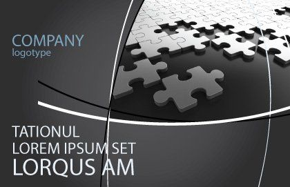 Silver Puzzle Postcard Template, Outer Page, 05940, Consulting — PoweredTemplate.com
