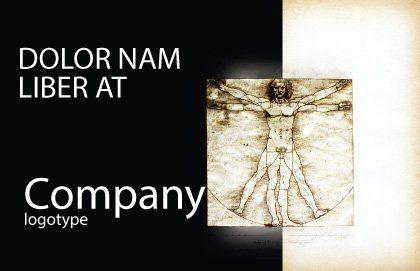 Vitruvian Man By Leonardo da Vinci Postcard Template, Outer Page, 06107, Education & Training — PoweredTemplate.com