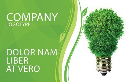 Green Eco Lamp Postcard Template, Outer Page, 06530, Technology, Science & Computers — PoweredTemplate.com