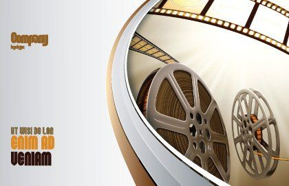 Film Reel In Light Brown Color Postcard Template Outer Page