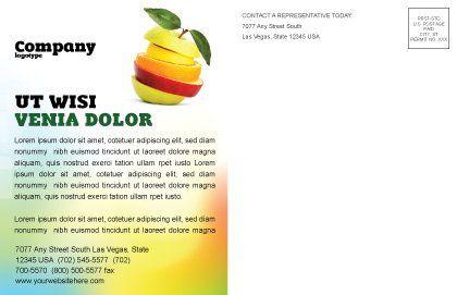 Cut Apple Postcard Template, Inner Page, 06731, Food & Beverage — PoweredTemplate.com