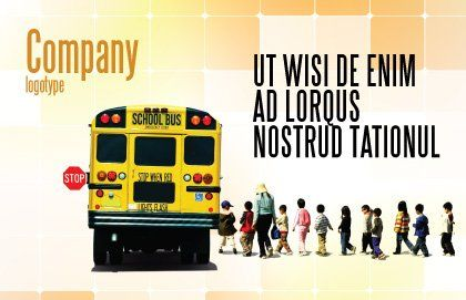School Bus Stop Postcard Template, Outer Page, 06967, Education & Training — PoweredTemplate.com