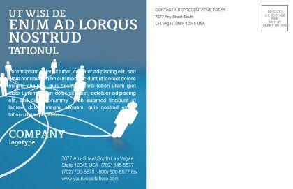 Social Network Scheme Postcard Template, Inner Page, 07390, Telecommunication — PoweredTemplate.com