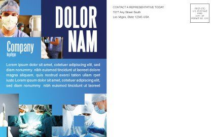Operation Room In Dark Blue Postcard Template, Inner Page, 07560, Medical — PoweredTemplate.com