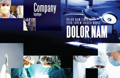 Operation Room In Dark Blue Postcard Template, Outer Page, 07560, Medical — PoweredTemplate.com